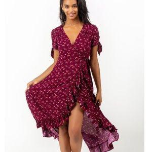 Floral Flowy long back wrap dress